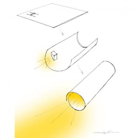 схема работы бумажного фонарика