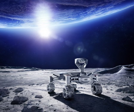 Луноход на фоне Земли