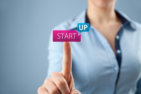 Woman start her startup business. Female investor accelerate start-up project concept.