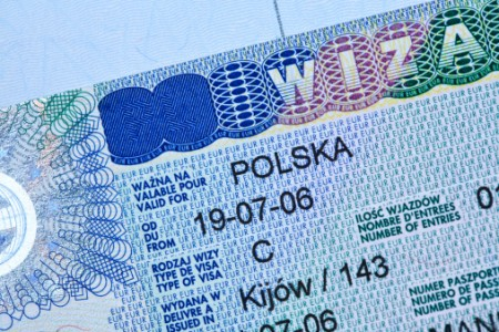 Polish visa stamp in a passport