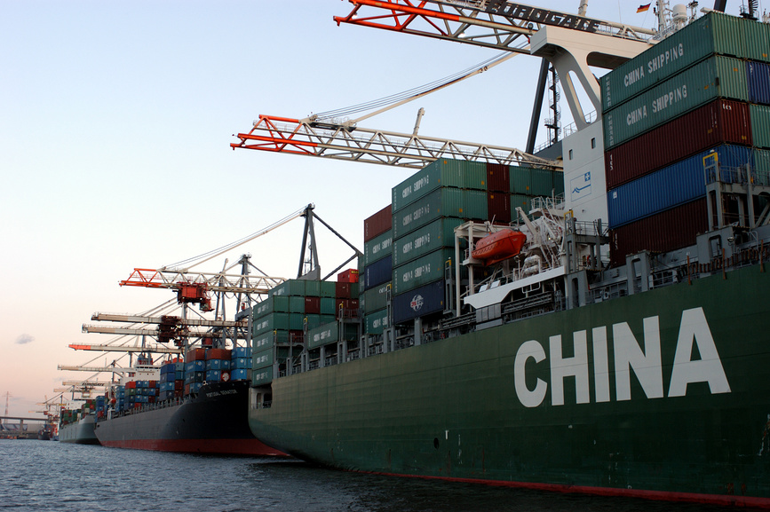 A cargo ship of the China Shipping in Waltershof port