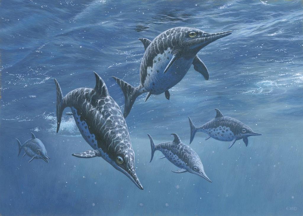 ichthyosaur_group_by_esthervanhulsen-d6j2rge