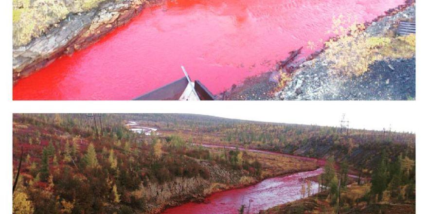 Река в Норильске покраснела из-за выбросов с прилегающего завода