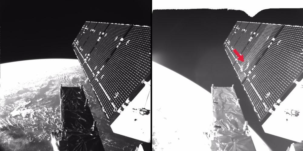 5-миллиметровая частица оставила 40-сантиметровую вмятину наспутнике