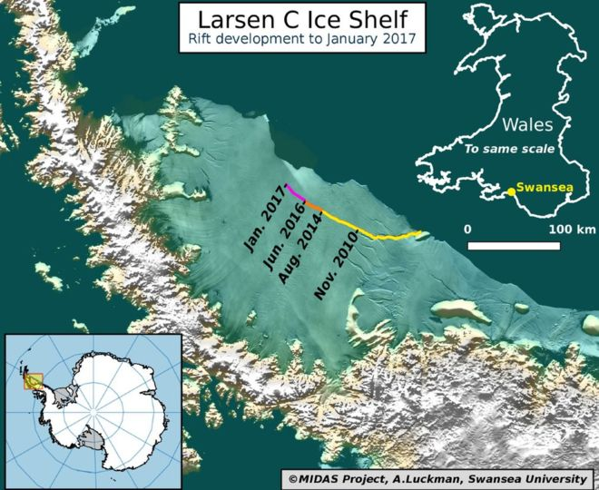 От шельфа Ларсена откололся гигантский айсберг