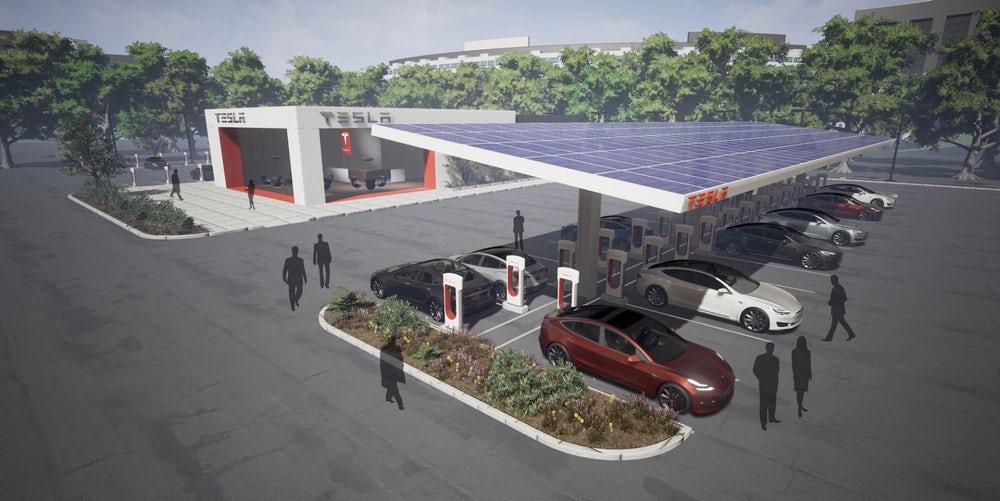 Tesla удвоит число своих заправок для электромобилей