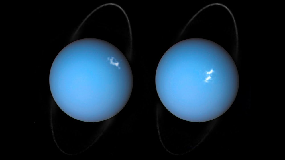 NASA удалось сфотографировать полярное сияние вокруг Урана
