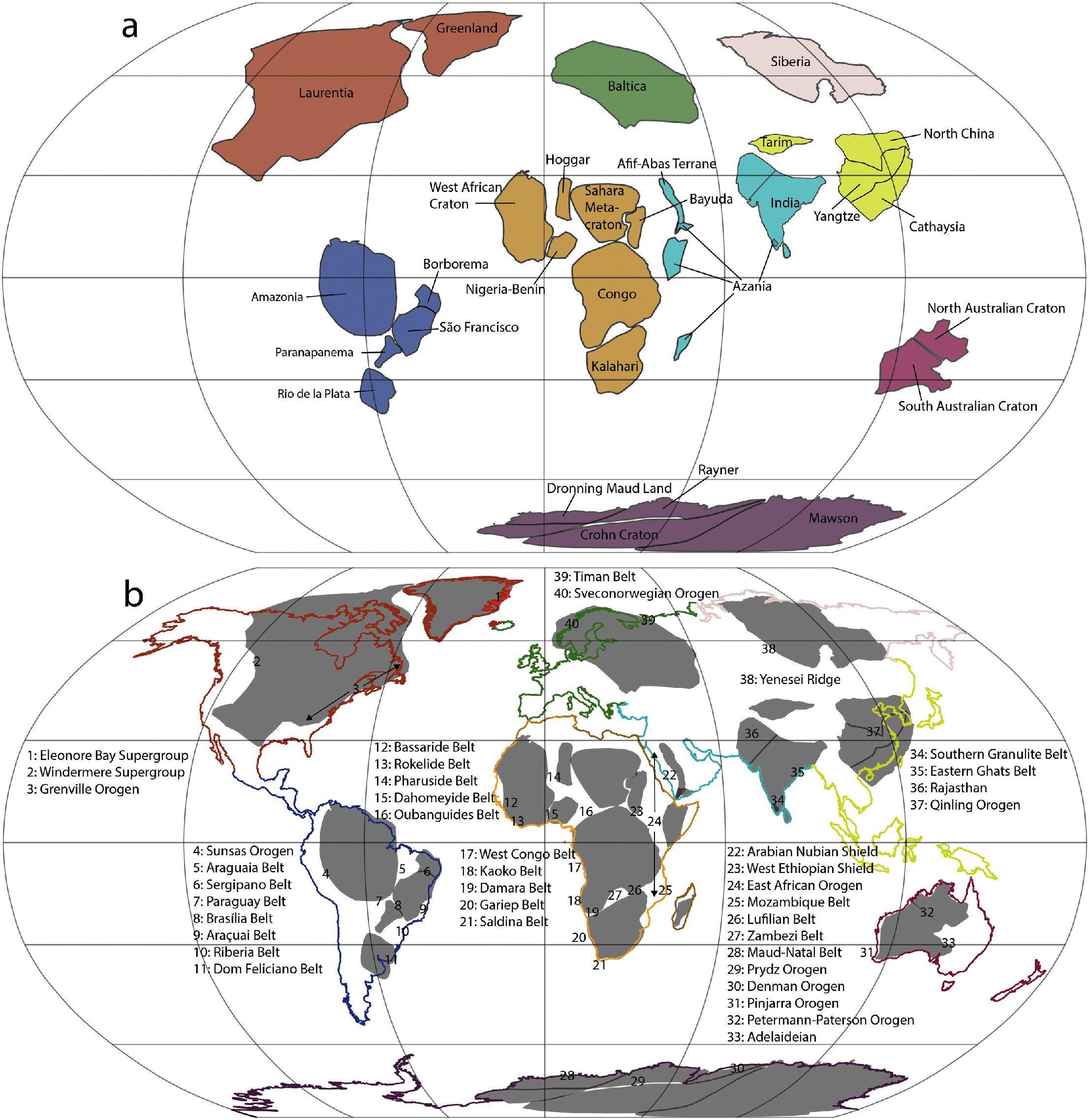 Представлена карта движения материков в течение 500 миллионов лет