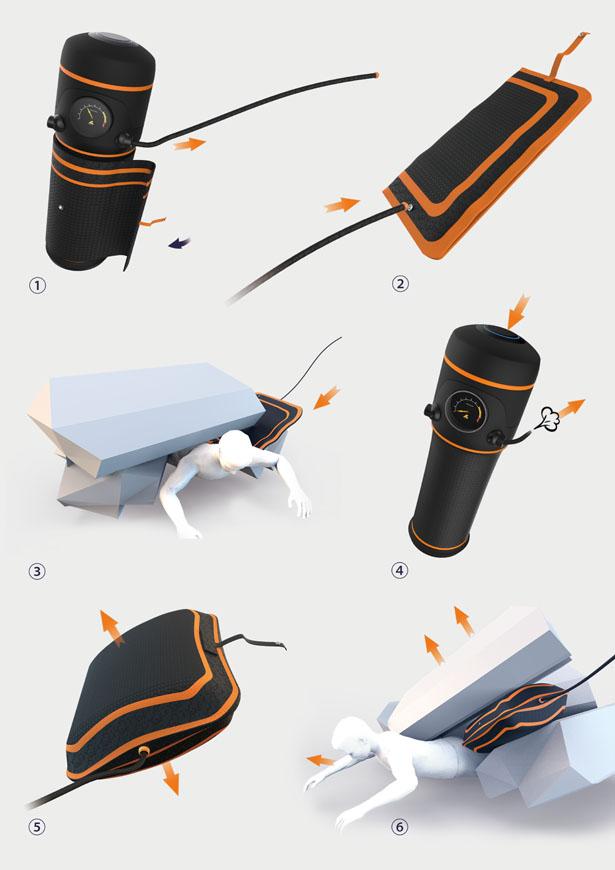 Разработан ручной аэродомкрат для разбора завалов