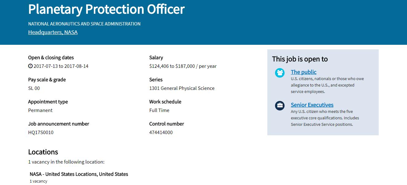NASA ищет офицера планетарной защиты