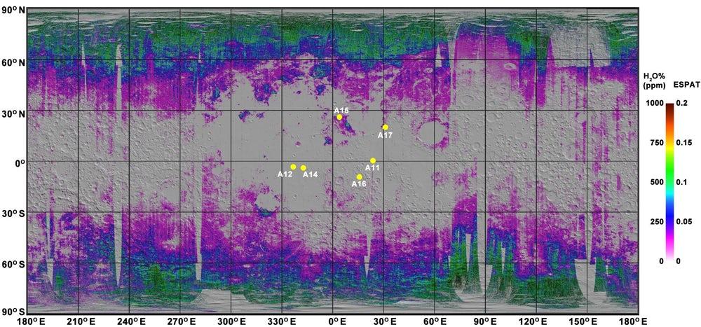 Составлена карта расположения воды на Луне