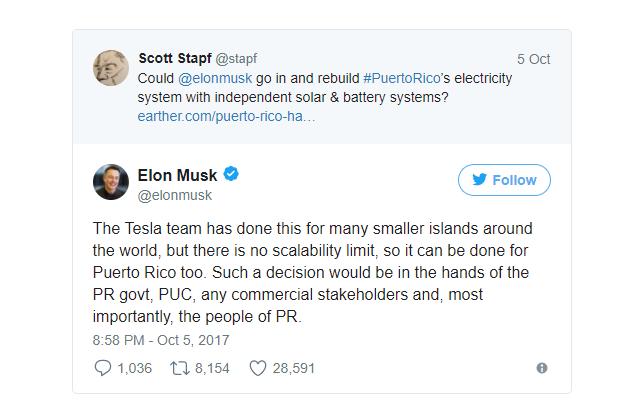 Tesla может заняться восстановлением электроснабжения в Пуэрто-Рико