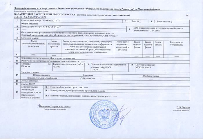 Кадастровый паспорт заказать с печатью