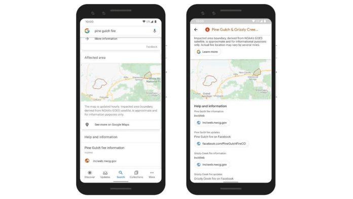 Google предупреждает о лесных пожарах в Калифорнии и Колорадо