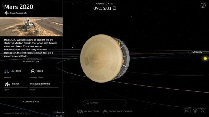 НАСА предлагает возможность наблюдать за полетом ровера Perseverance в режиме реального времени