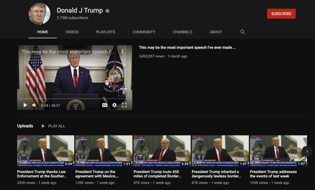 YouTube продлил запрет на загрузку видео аккаунтом Трампа